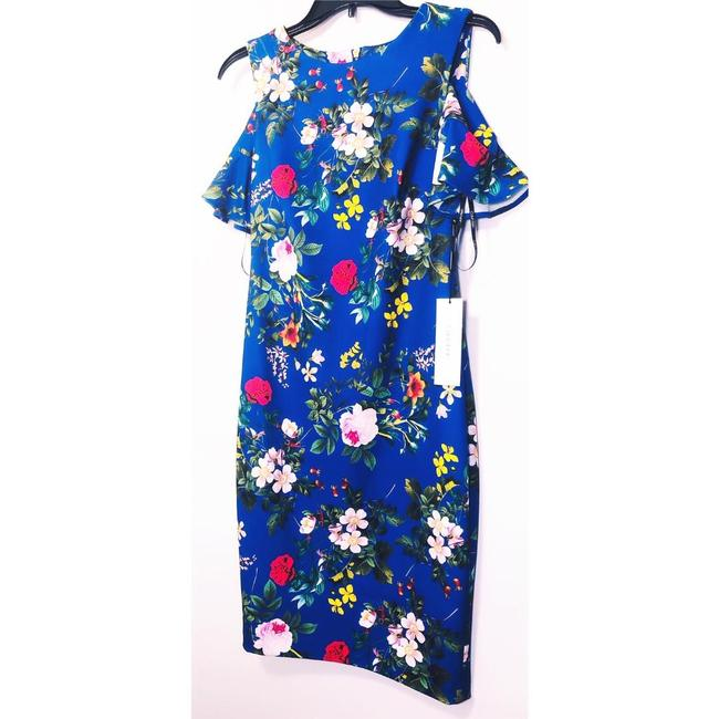 Calvin Klein Sheath Cold Shoulder Floral Midi Crew Neck Dress Image 3
