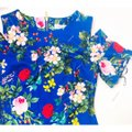 Calvin Klein Sheath Cold Shoulder Floral Midi Crew Neck Dress Image 4