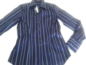 Express Longsleeve 44% Cotton Great Fit Made In Indonesia Button Down Shirt dark blue