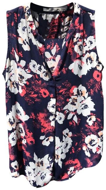 Item - Multicolor Nwot Hi Lo Navy and Coral Floral Sleeveless Blouse Size 12 (L)