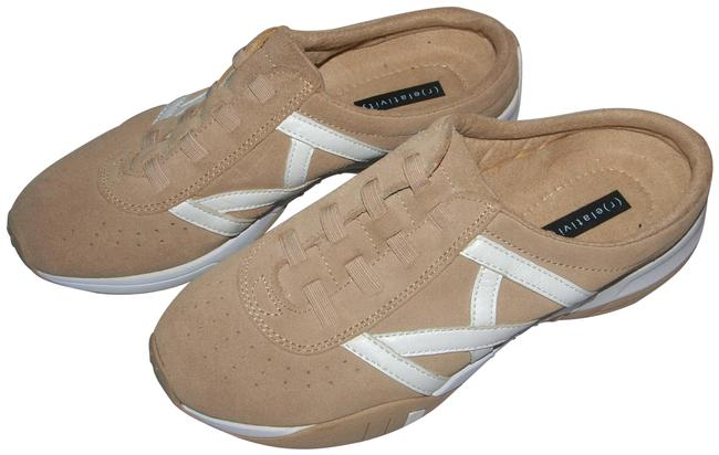 Item - Tan & White Diane Slide Real Suede Leather Style Sneakers Size US 7 Regular (M, B)