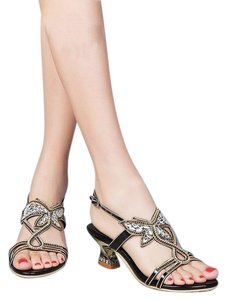 G. Sparrow Black, Gold Sandals