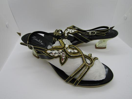 G. Sparrow Black, Gold Sandals Image 1