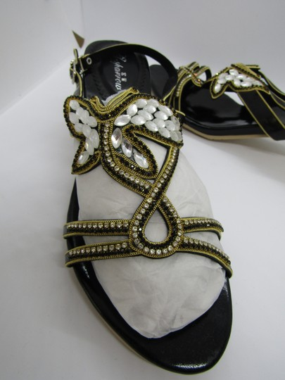 G. Sparrow Black, Gold Sandals Image 4