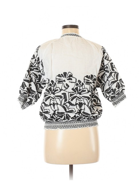 Chico's Embroidered Linen Floral White/Black Jacket Image 1