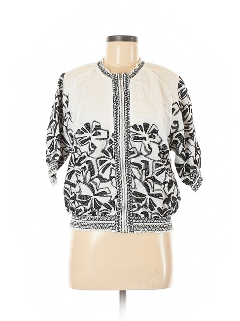 Chico's Embroidered Linen Floral White/Black Jacket Image 2