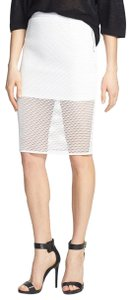 ASTR Fishnet Mesh Pencil Faux Leather Skirt White