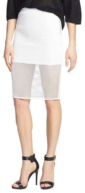 ASTR Fishnet Mesh Pencil Faux Leather Skirt White Image 0