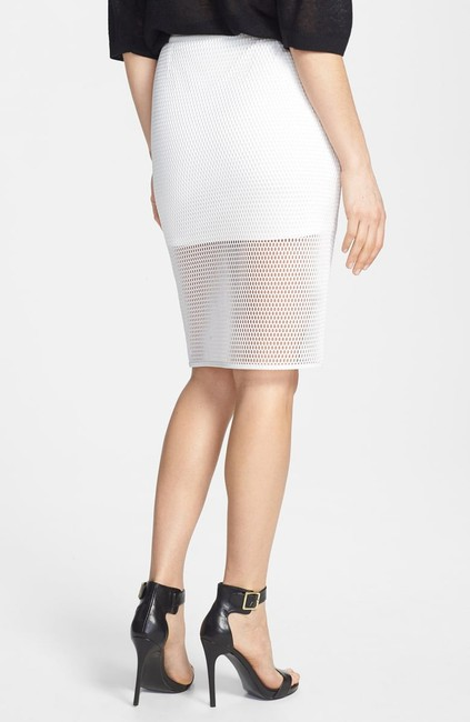 ASTR Fishnet Mesh Pencil Faux Leather Skirt White Image 1