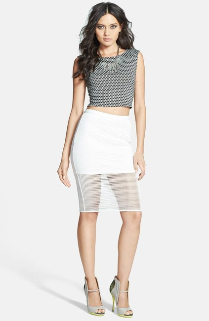 ASTR Fishnet Mesh Pencil Faux Leather Skirt White Image 2