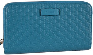 Gucci New Gucci Cobalt Leather Micro GG Guccissima Zip Around Wallet