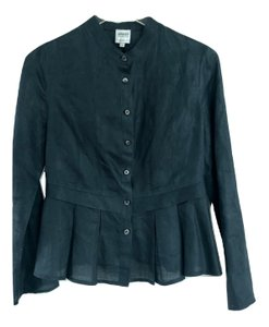 Armani Collezioni Jacket Linen Blouse Button Down Shirt Navy Blue