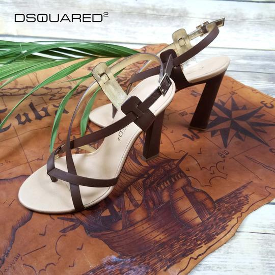 Dsquared2 Leather Made In Italy High Brown Sandals Image 10