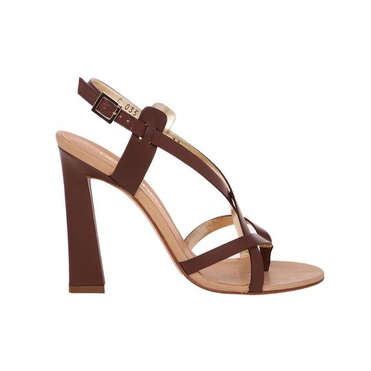 Dsquared2 Leather Made In Italy High Brown Sandals Image 2