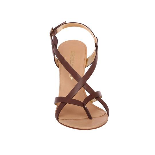 Dsquared2 Leather Made In Italy High Brown Sandals Image 4