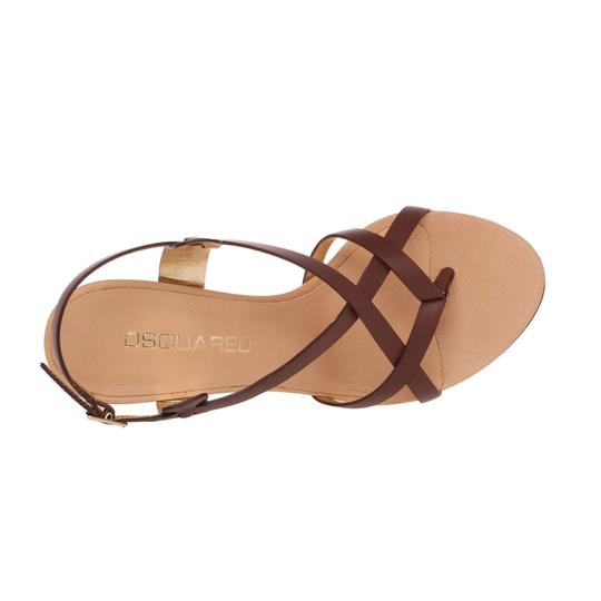 Dsquared2 Leather Made In Italy High Brown Sandals Image 5
