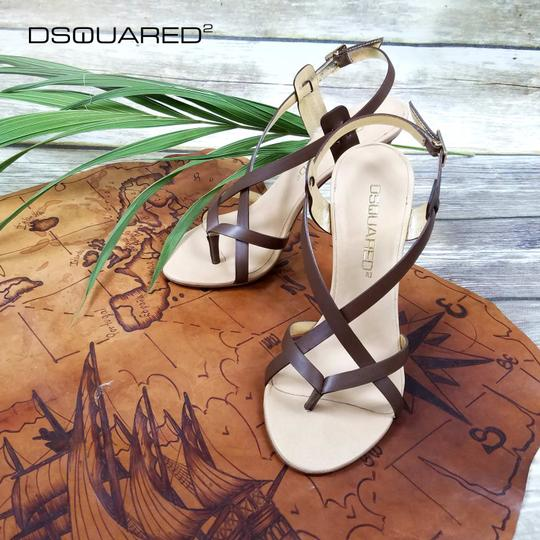 Dsquared2 Leather Made In Italy High Brown Sandals Image 8