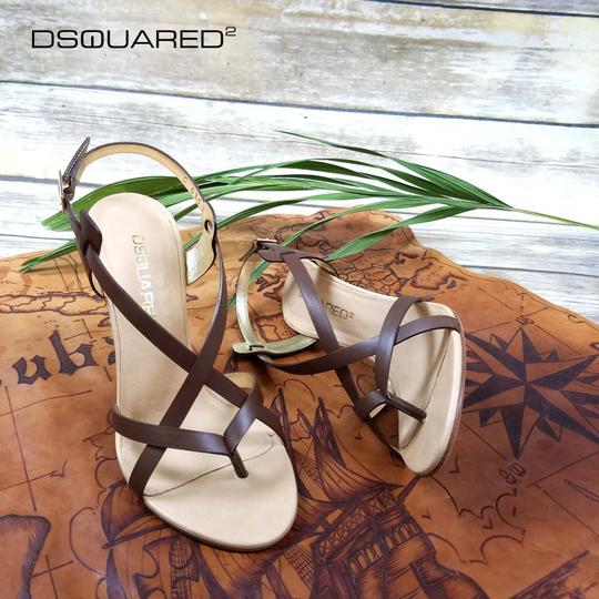 Dsquared2 Leather Made In Italy High Brown Sandals Image 9