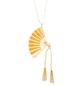 Lele Sadoughi NEW RARE 14K Gold Plated Hand Fan Pendant Necklace