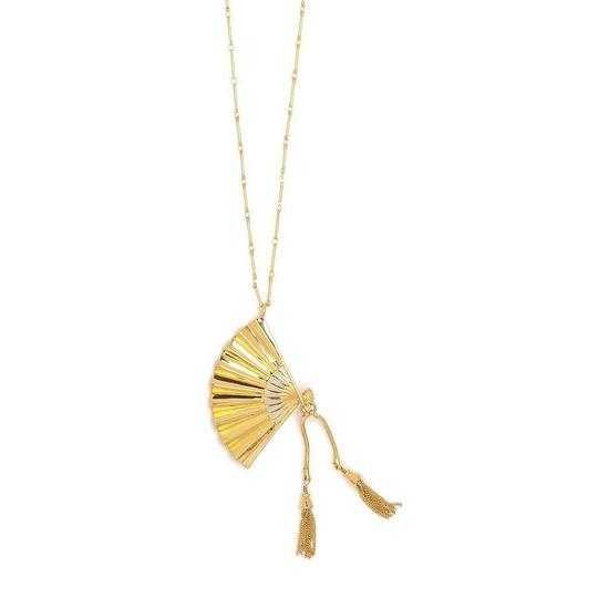 Lele Sadoughi NEW RARE 14K Gold Plated Hand Fan Pendant Necklace Image 1