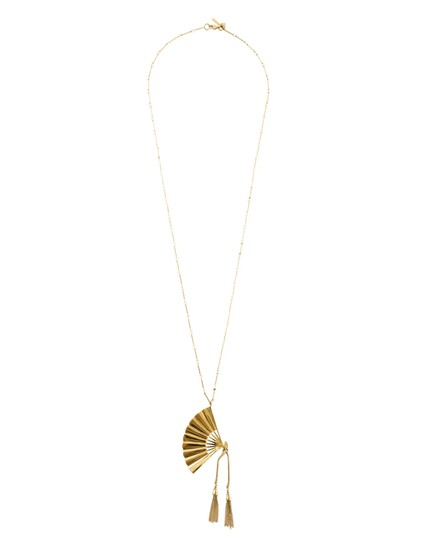 Lele Sadoughi NEW RARE 14K Gold Plated Hand Fan Pendant Necklace Image 2