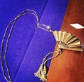 Lele Sadoughi NEW RARE 14K Gold Plated Hand Fan Pendant Necklace Image 5