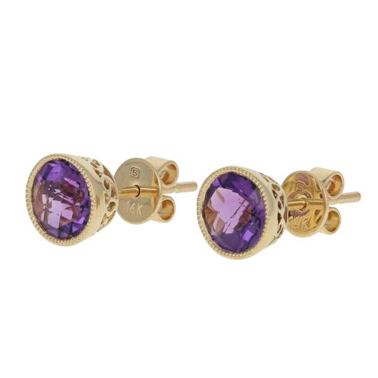 other NEW 1.37ctw Amethyst Earrings - 14k Yellow Gold E3445 Image 1