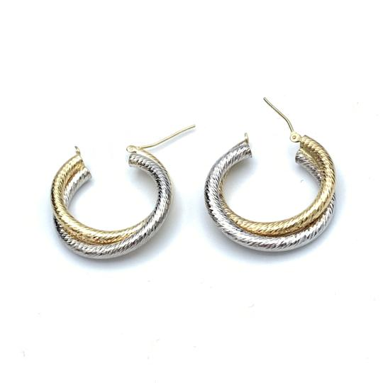 other (907) 14k two tone gold hoop earrings Image 3
