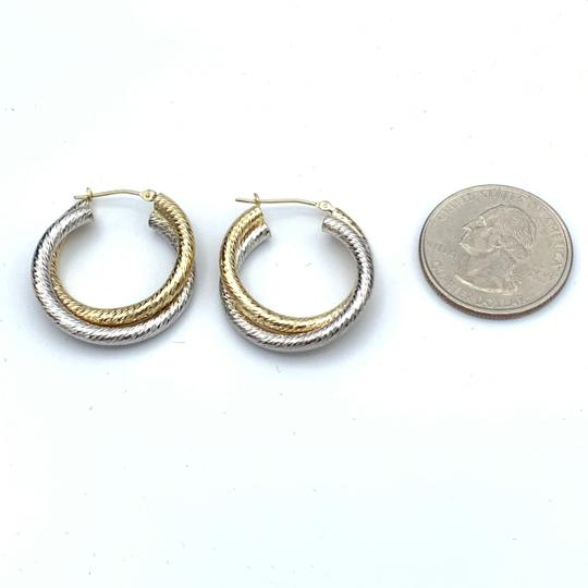 other (907) 14k two tone gold hoop earrings Image 4