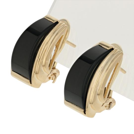 Other Onyx Earrings - 14k Yellow Gold Tapered Pierced E3620 Image 1