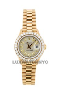ROLEX 1.8ct 26mm Datejust 18k Gold Presidential with Box & Appraisal Watch