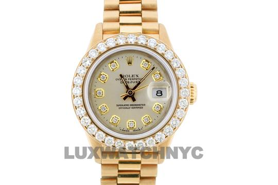 ROLEX 1.8ct 26mm Datejust 18k Gold Presidential with Box & Appraisal Watch Image 2