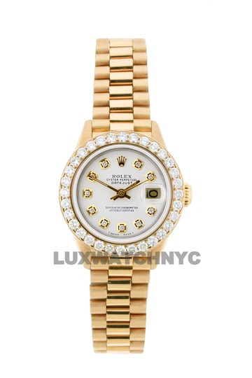 ROLEX 1.8ct 26mm Datejust 18k Gold Presidential with Box & Appraisal Watch Image 9