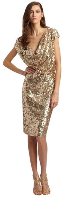 Preload https://img-static.tradesy.com/item/25350580/st-john-gold-metallic-sequined-tulle-cowl-neck-night-out-dress-size-12-l-0-1-650-650.jpg