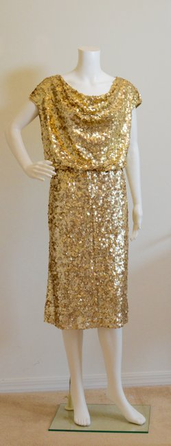 St. John Cowl-neck New With Tags Lined Sequins Dress Image 1