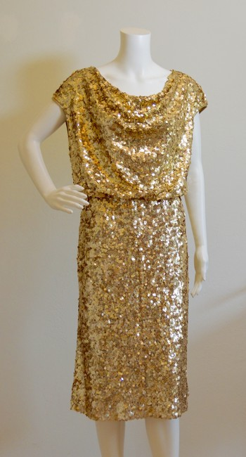 St. John Cowl-neck New With Tags Lined Sequins Dress Image 2