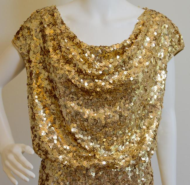 St. John Cowl-neck New With Tags Lined Sequins Dress Image 5