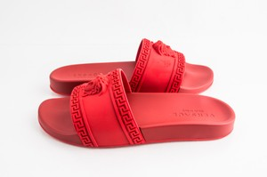 Versace Red Palazzo Pool Slides Shoes