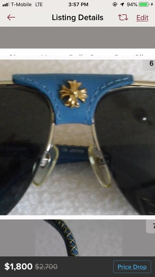 Chrome Hearts Turquoise Leather & Gold Sunglasses Image 1