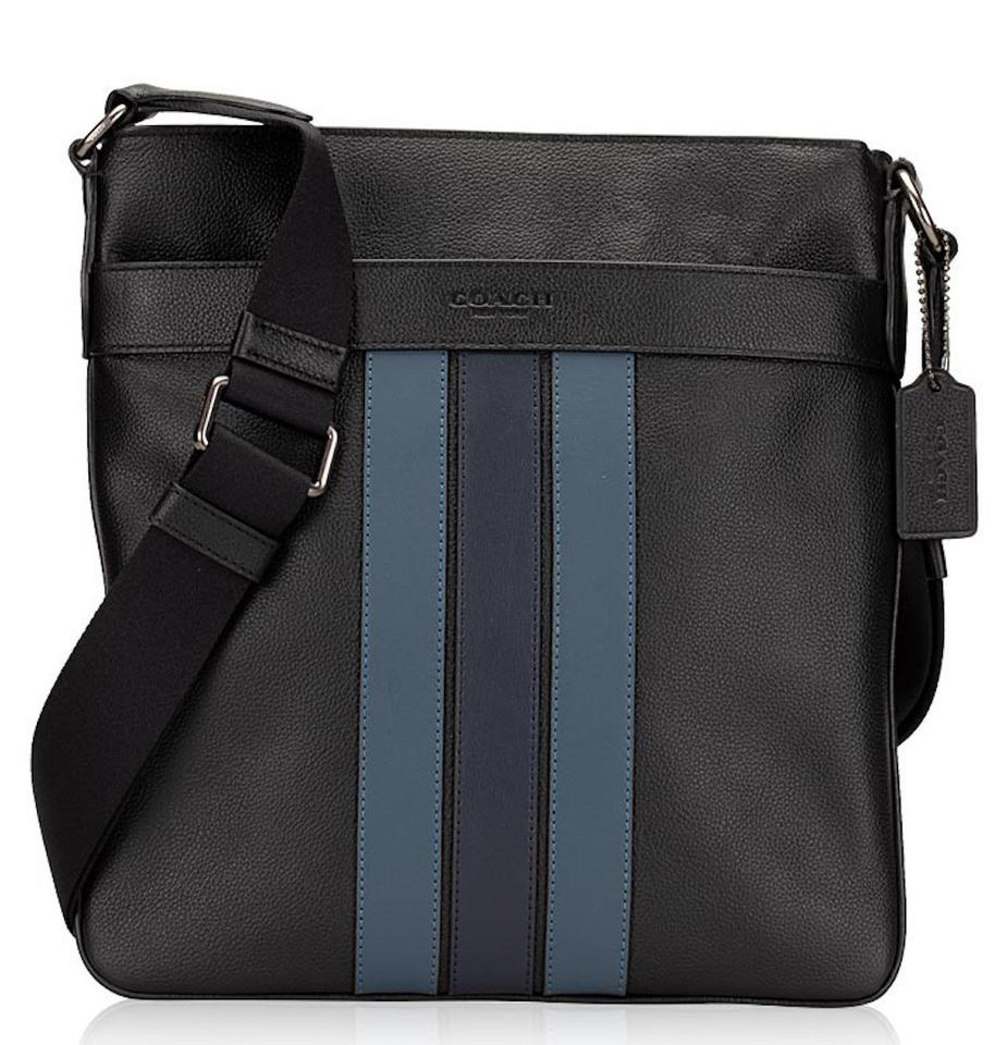 bd14102a Coach Crossbody New Men Striped Strips Ipad Tablet Map Slim Small Navy  Leather Messenger Bag 44% off retail