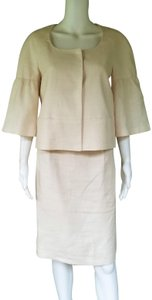 Banana Republic BANANA REPUBLIC Ivory 100% Linen Short Sleeve Skirt Suit S/4