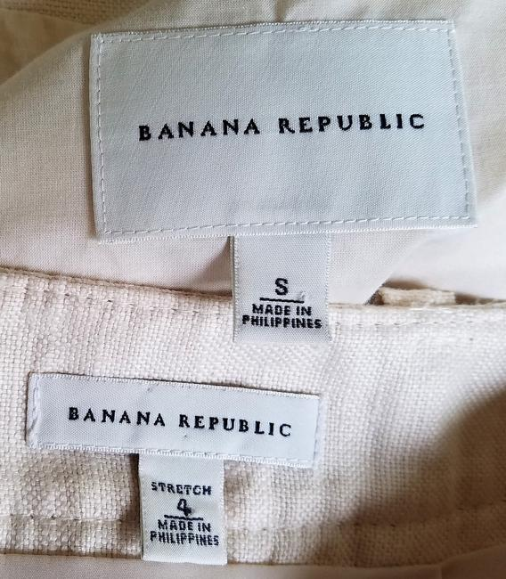 Banana Republic BANANA REPUBLIC Ivory 100% Linen Short Sleeve Skirt Suit S/4 Image 4
