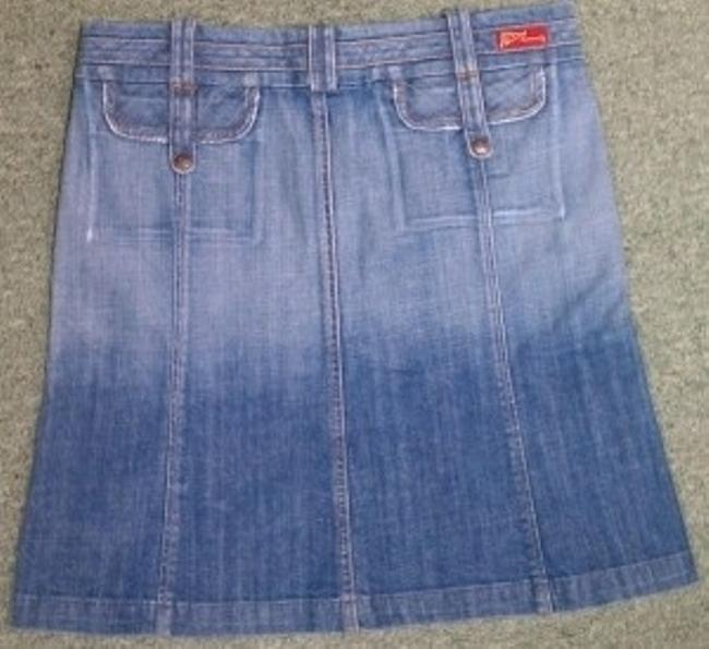 Citizens of Humanity Multi-seam Wide Waistband Denim Skirt Blue