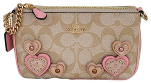 Coach Large Heart Monogram Wristlet in Light tan, pink