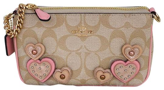 Coach Large Heart Monogram Wristlet in Light tan, pink Image 0