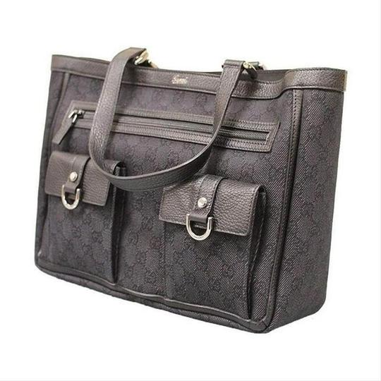 Gucci Women's Denim Abbey Handbag With D Ring Tote in Black Image 1