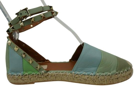 Preload https://img-static.tradesy.com/item/25351274/valentino-green-and-blue-rockstud-double-ankle-wrap-leather-espadrille-flats-size-eu-40-approx-us-10-0-1-540-540.jpg