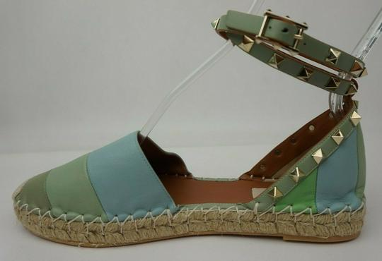 Valentino Green and blue Flats Image 3