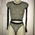 AOV Boutique Sexy black fish net two piece outfit Image 4