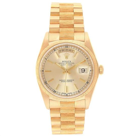 Rolex Rolex President Day-Date 36 Yellow Gold Bark Finish Mens Watch 18078 Image 1